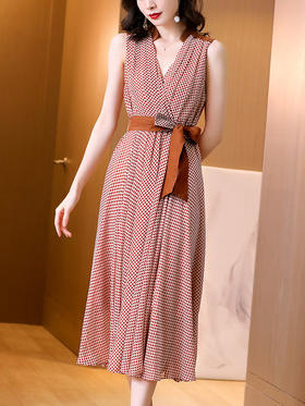 HT1139新款优雅时尚气质收腰显瘦V领波点大摆连衣裙TZF