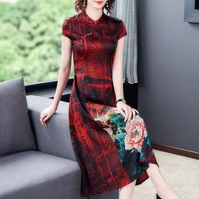 XFFS0911新款优雅气质修身短袖立领印花连衣裙TZF