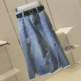 SYL新款时尚高腰显瘦破洞中长款百搭开叉牛仔半身裙TZF