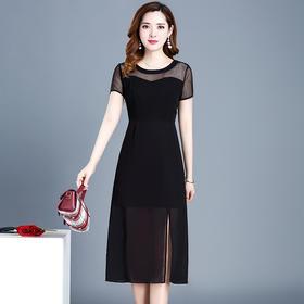 QYM-XY-19W8018-1新款时尚优雅气质短袖条纹侧面开衩连衣裙TZF