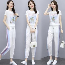 HRFS-XZYHC2098新款潮流时尚气质印花上衣休闲裤两件套TZF