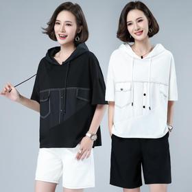HRFS-WH30019新款潮流时尚宽松拼接连帽休闲衬衫TZF