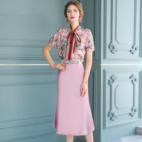 FMY30889新款时尚优雅气质印花雪纺衫半身裙两件套TZF