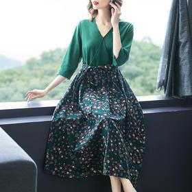 AHM-tywf6777新款民族风优雅气质收腰显瘦棉麻印花连衣裙TZF