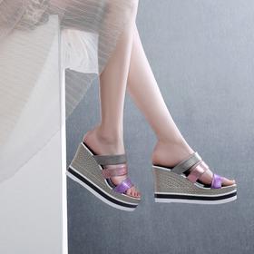 OLD6636-1新款潮流时尚气质百搭坡跟厚底凉拖鞋TZF