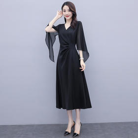 HRFS-WL3269新款时尚优雅气质收腰显瘦V领不规则连衣裙TZF