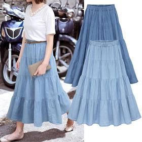 OMW7104新款潮流时尚高腰中长款拼接牛仔褶皱半身裙TZF