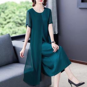 XFFS9285新款时尚优雅气质宽松圆领短袖拼接过膝连衣裙TZF