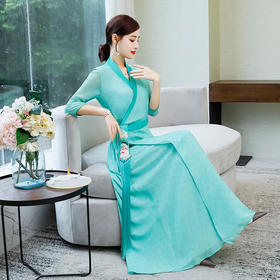 ZFN2021新款时尚优雅气质修身V领流苏刺绣连衣裙TZF
