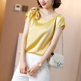 HRFS-WX90299新款时尚优雅气质圆领纯色真丝衬衫TZF