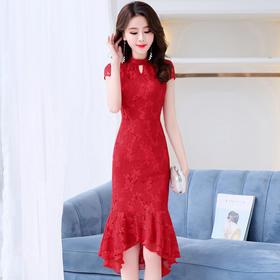 HRFS-MLJL8808新款时尚优雅气质修身显瘦短袖不规则蕾丝连衣裙TZF
