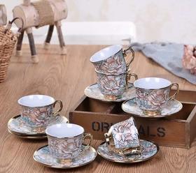 【现场秒杀】 欧式电镀咖啡杯碟套装(6杯6碟)颜色随机发出!30元一套