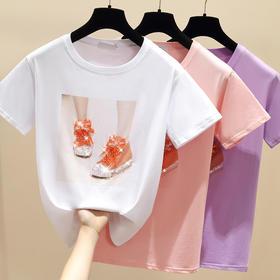 YXSM514新款亮片棉质宽松T恤TZF