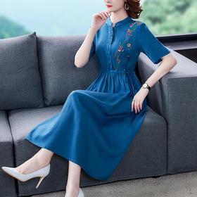 NYL4681053新款优雅气质抽绳收腰显瘦亚麻刺绣连衣裙TZF