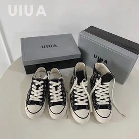 UIUA高帮/低帮鞋女透气经典帆布鞋女黑色老花恶搞平底潮鞋内增高3CM