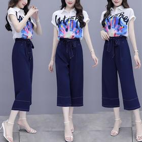 HT375新款时尚气质印花雪纺衫阔腿裤两件套TZF