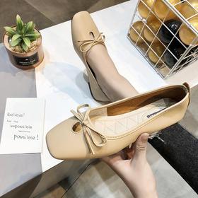 LN188新款时尚气质蝴蝶结方头平底休闲单鞋TZF
