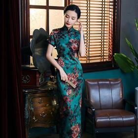 WXG-SSC010新款复古优雅气质修身立领桑蚕丝印花长款旗袍裙TZF