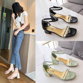 LN115新款潮流时尚水钻一字带粗跟凉鞋TZF