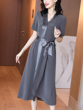 HT1166新款时尚优雅气质系带收腰显瘦开叉连衣裙TZF