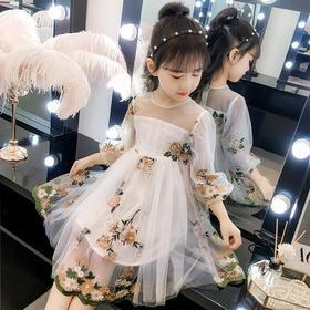 JSL-ADD3002新款时尚气质长袖网纱绣花公主裙TZF