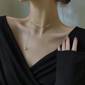 小众设计金色麦穗/一见钟情女士锁骨链ins法式气质简约个性颈链