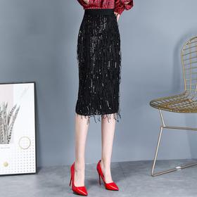 SXFS1018新款时尚气质高腰流苏中长款包臀裙TZF