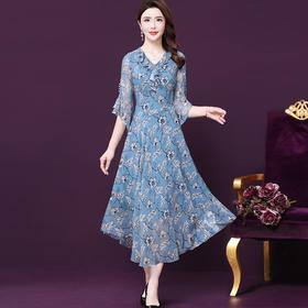WXY-S9-129新款时尚优雅气质修身桑蚕丝印花长款连衣裙TZF