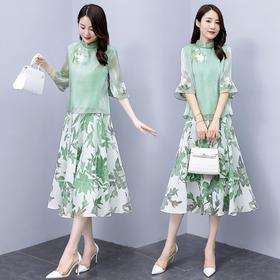 XYFS-HRYZ7094新款中国风优雅气质印花立领上衣半身裙两件套TZF