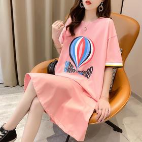 YXSM-c7014新款潮流时尚气质棉质短袖拼接荷叶边印花连衣裙TZF