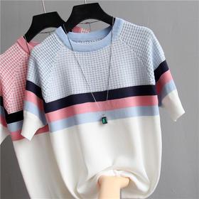 YXSM399新款时尚气质修身短袖千鸟格撞色冰丝针织衫TZF