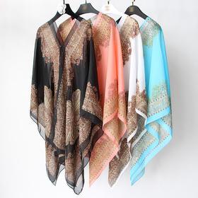 JZX新款时尚气质百变防晒雪纺披肩TZF(买一送一)