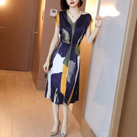 XFFS629新款气质修身过膝缎面裙子TZF