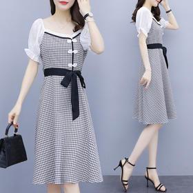 YHSS327348新款潮流时尚气质系带收腰显瘦拼接短袖格子连衣裙TZF