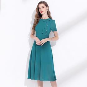 JRX205230新款高端名媛气质小香风短袖雪纺连衣裙TZF