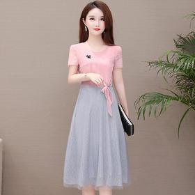 YWE-TYH93X099新款时尚气质修身短袖网纱拼接连衣裙TZF