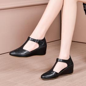 OLD-k179新款时尚气质镂空洞洞真皮浅口内增高坡跟凉鞋TZF