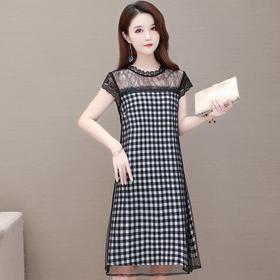 YWE-KED-B166新款优雅气质修身短袖网纱拼接格子中长款连衣裙TZF