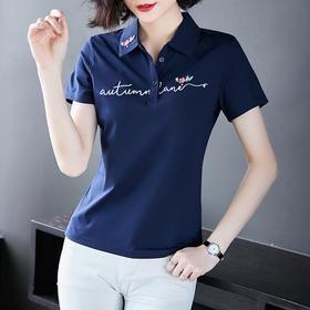 XFFS9013新款时尚气质翻领刺绣休闲运动T恤TZF