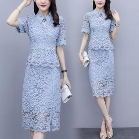 HT-FF-A041-8762新款时尚优雅气质蕾丝短袖套装裙TZF