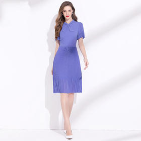 JRX205229新款时尚气质修身显瘦蝴蝶结立领雪纺百褶连衣裙TZF