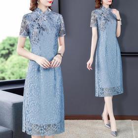 HT2155新款优雅气质修身蕾丝定位印花中长款旗袍裙TZF