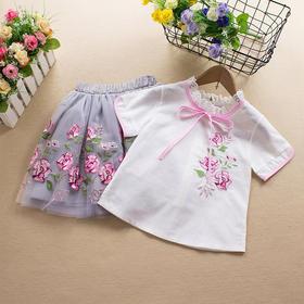 ALBL9009新款中国风刺绣纯棉短袖上衣公主裙两件套TZF