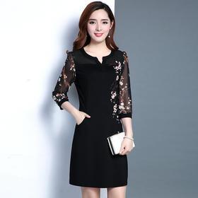 YWE-TYH95282新款时尚气质修身显瘦七分袖绣花中长款连衣裙TZF