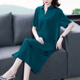 AHM-yjr8343新款时尚名媛气质宽松短袖连衣裙TZF