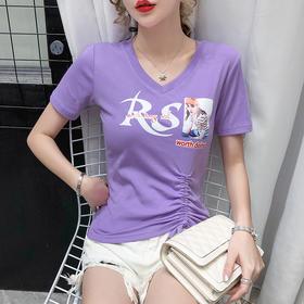 YHSS211626新款潮流时尚气质印花短款抽绳短袖T恤TZF