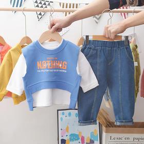 GGDD-MHTN新款中小童长袖衫马甲牛仔裤三件套TZF