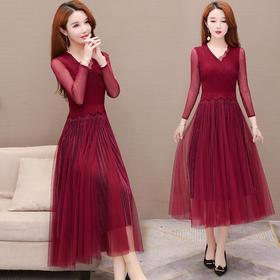 MWYFZ629131新款优雅气质修身长袖过膝网纱连衣裙TZF