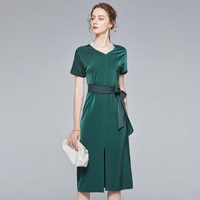 BHS020204419新款优雅气质收腰显瘦V领短袖开叉连衣裙TZF(配腰带)