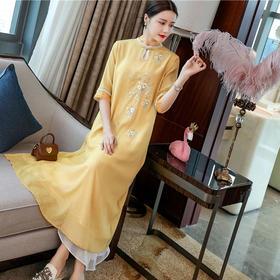 FNZD20111新款中国风优雅气质立领盘扣如意纱刺绣连衣裙TZF